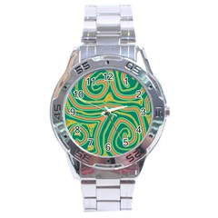 Green and orange lines Stainless Steel Analogue Watch