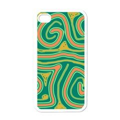 Green and orange lines Apple iPhone 4 Case (White)