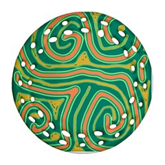 Green and orange lines Round Filigree Ornament (2Side)