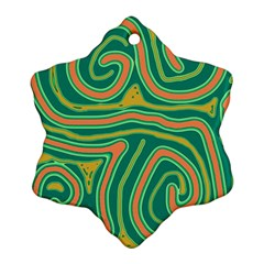 Green and orange lines Snowflake Ornament (2-Side)