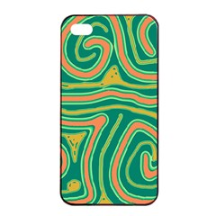 Green and orange lines Apple iPhone 4/4s Seamless Case (Black)