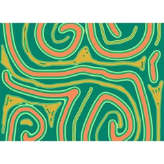 Green and orange lines Birthday Cake 3D Greeting Card (7x5)