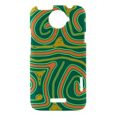 Green and orange lines HTC One X Hardshell Case