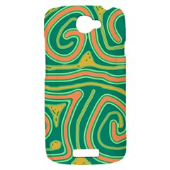 Green and orange lines HTC One S Hardshell Case
