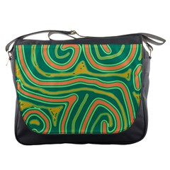 Green and orange lines Messenger Bags