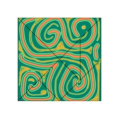 Green and orange lines Acrylic Tangram Puzzle (4  x 4 )