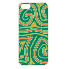 Green and orange lines Apple iPhone 5 Seamless Case (White)