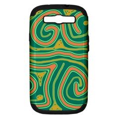 Green and orange lines Samsung Galaxy S III Hardshell Case (PC+Silicone)