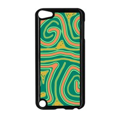 Green and orange lines Apple iPod Touch 5 Case (Black)