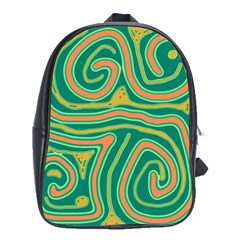 Green and orange lines School Bags (XL)