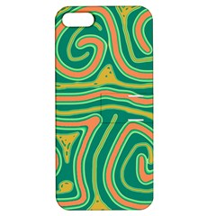 Green and orange lines Apple iPhone 5 Hardshell Case with Stand