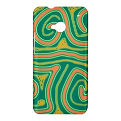 Green and orange lines HTC One M7 Hardshell Case