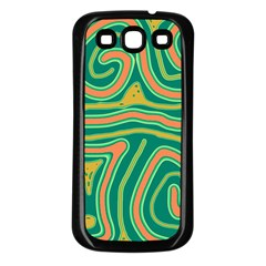 Green and orange lines Samsung Galaxy S3 Back Case (Black)