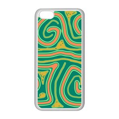 Green and orange lines Apple iPhone 5C Seamless Case (White)