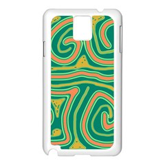 Green and orange lines Samsung Galaxy Note 3 N9005 Case (White)