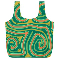 Green and orange lines Full Print Recycle Bags (L)