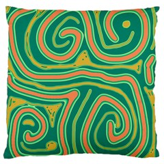 Green and orange lines Large Flano Cushion Case (One Side)