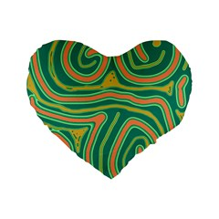 Green And Orange Lines Standard 16  Premium Flano Heart Shape Cushions