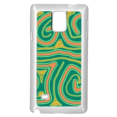 Green and orange lines Samsung Galaxy Note 4 Case (White)