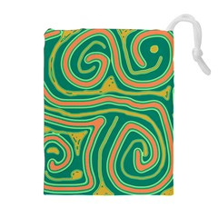 Green and orange lines Drawstring Pouches (Extra Large)