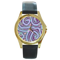 Purple lines Round Gold Metal Watch