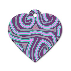 Purple lines Dog Tag Heart (One Side)