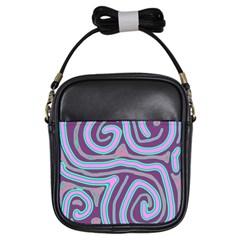 Purple lines Girls Sling Bags