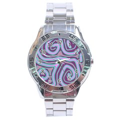 Purple lines Stainless Steel Analogue Watch