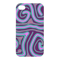 Purple lines Apple iPhone 4/4S Premium Hardshell Case