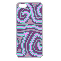 Purple lines Apple Seamless iPhone 5 Case (Clear)