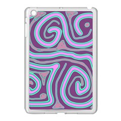 Purple lines Apple iPad Mini Case (White)