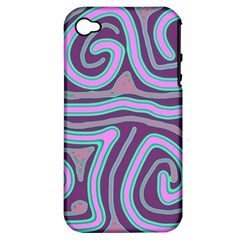 Purple lines Apple iPhone 4/4S Hardshell Case (PC+Silicone)