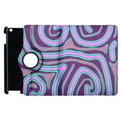 Purple lines Apple iPad 3/4 Flip 360 Case