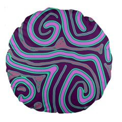 Purple lines Large 18  Premium Round Cushions
