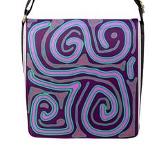 Purple lines Flap Messenger Bag (L)