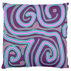 Purple lines Large Flano Cushion Case (One Side)