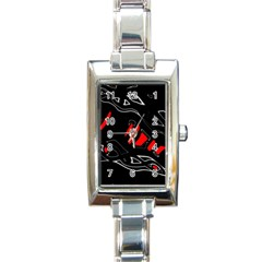 Black and red artistic abstraction Rectangle Italian Charm Watch