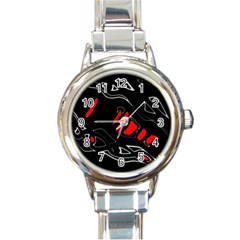 Black and red artistic abstraction Round Italian Charm Watch