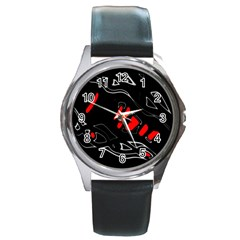 Black and red artistic abstraction Round Metal Watch