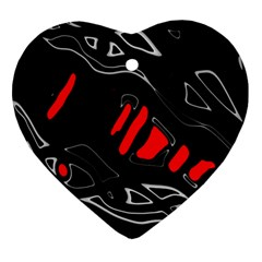 Black and red artistic abstraction Ornament (Heart)