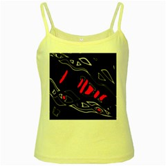 Black and red artistic abstraction Yellow Spaghetti Tank