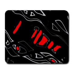 Black and red artistic abstraction Large Mousepads