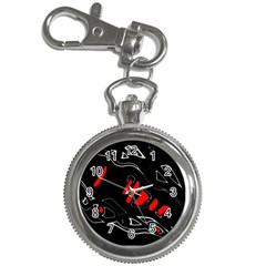 Black and red artistic abstraction Key Chain Watches