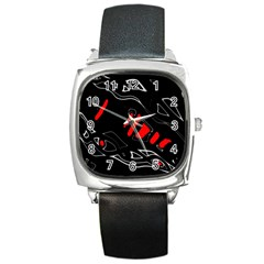 Black and red artistic abstraction Square Metal Watch