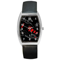 Black and red artistic abstraction Barrel Style Metal Watch