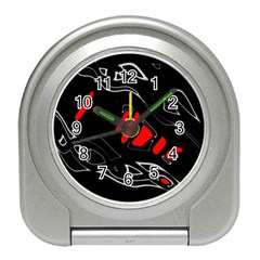 Black and red artistic abstraction Travel Alarm Clocks