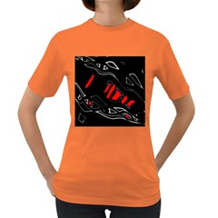 Black and red artistic abstraction Women s Dark T-Shirt