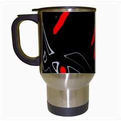 Black and red artistic abstraction Travel Mugs (White)