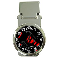 Black and red artistic abstraction Money Clip Watches