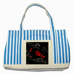 Black and red artistic abstraction Striped Blue Tote Bag